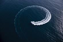 Motor Boat Making A Turn In Form Of A Swirl