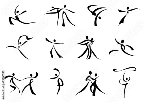 Abstract black icons of dancing people Poster Mural XXL