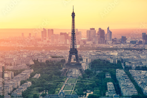 obraz lub plakat The sunset at Paris city with Eiffel Tower in France