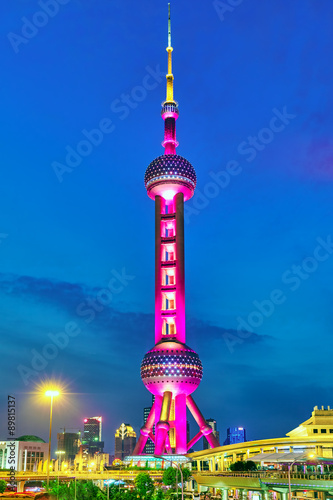 Photo  SHANGHAI-MAY 24, 2015. Oriental Pearl Tower at the nighttime. To