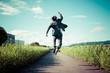 Leinwanddruck Bild - 道路でジャンプをするスーツのビジネスマン