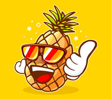 Vector Illustration Of Colorful Hipster Pineapple With Sunglasse