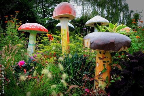 Fényképezés Champignons géants dans verdure