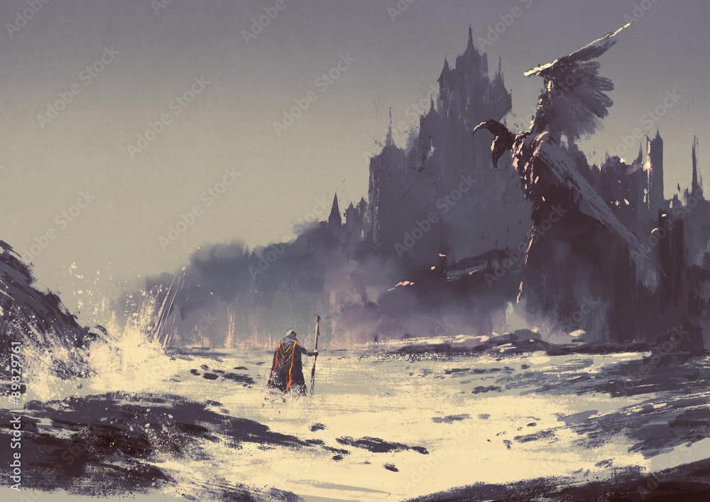 Fototapeta illustration painting of king walking through sea beach next to fantasy castle in background