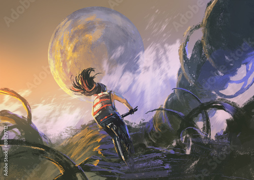 ilustracja-obraz-rowerzysty-na-rowerze-gorskim-wspinaczka-na-skalistym-szczycie