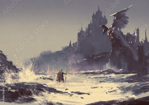 Deurstickers Grijs illustration painting of king walking through sea beach next to fantasy castle in background