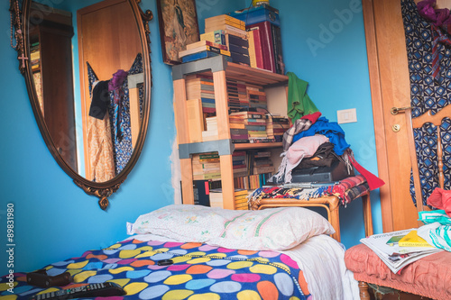 Aluminium Prints Imagination Room of sleep with mirror and books.