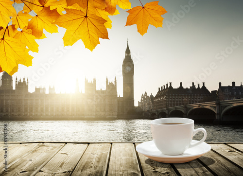 Big Ben at sunset and cup of coffee, London, UK Wallpaper Mural