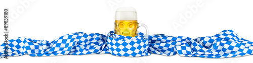 Fotografie, Obraz  Oktoberfest beer mug with bavarian flag isolated on white background