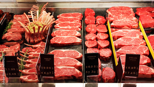 Canvas Prints Meat Fresh raw red meat in supermarket