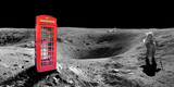 Red english london phone booth on the surface of the moon - elements of this image are provided by NASA - 89849116