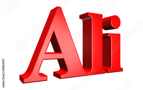 Photo 3D Ali text on white background