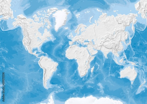 World Map In Van Der Grinten Projection With Shaded Relief On