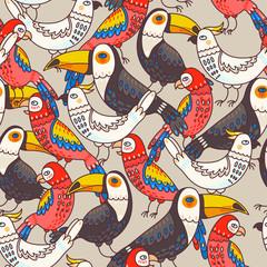 Fototapeta Ptaki Seamless macaw and toucan