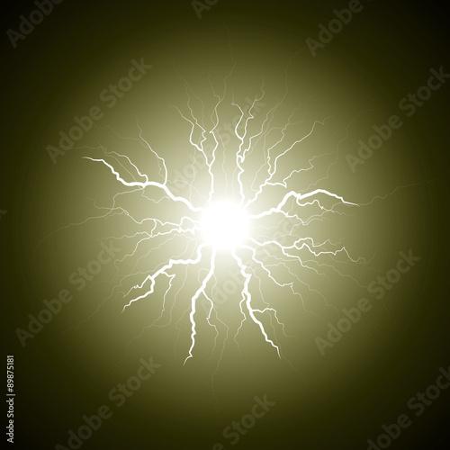 Fotografie, Obraz  yellow lightning from the center