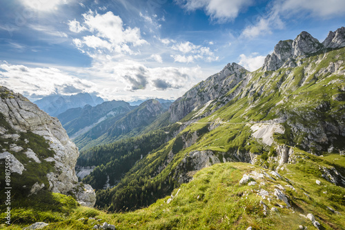 Fototapeta Alps mountains tranquil summer view from Mangart peak. Slovenia. obraz