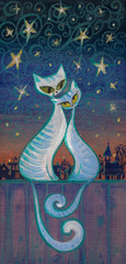 FototapetaHand painted picture of two cats in love hugging on a fence at night.