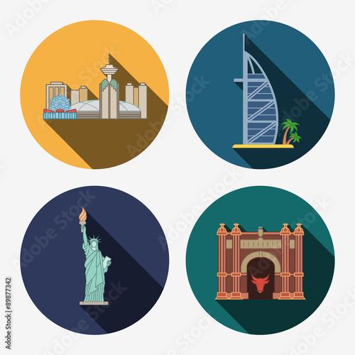 Photo  4 flat landmark icons