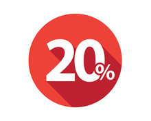 20 Percent Discount Sale Red Circle