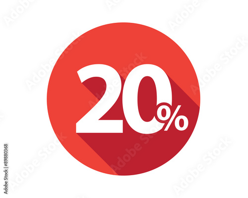 Photo  20 percent discount sale red circle