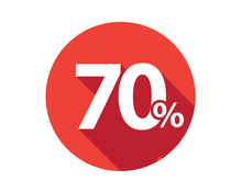 70 Percent  Discount Sale Red Circle