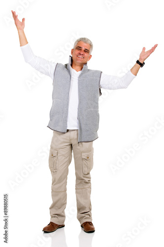 Deurstickers Ontspanning middle aged man with arms open