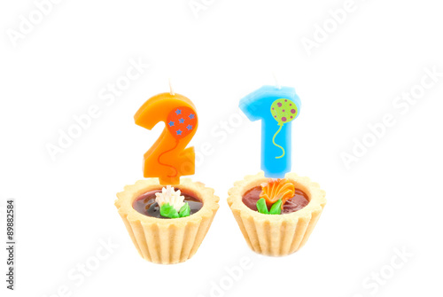 Cakes With Twenty One Years Birthday Candles On White
