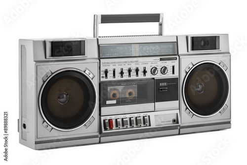 Photo Retro ghetto blaster isolated on white with clipping path
