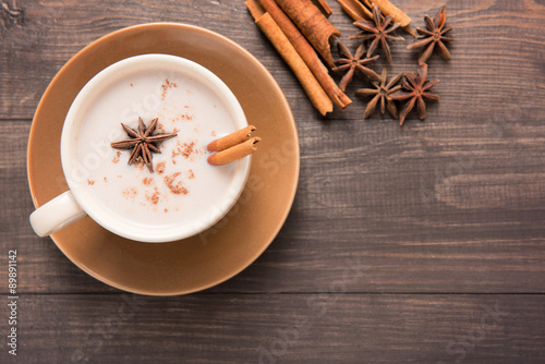 Masala chai with spices cinnamon , cardamom, ginger, clove and s