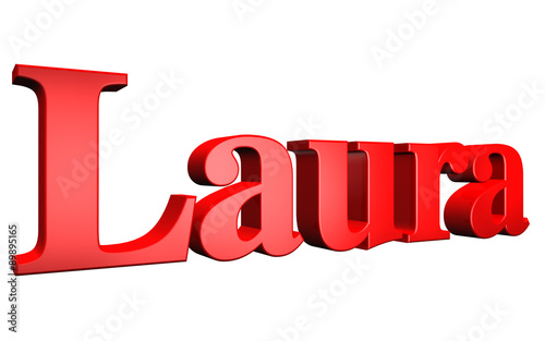 3D Laura text on white background Canvas Print