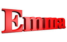 3D Emma Text On White Background