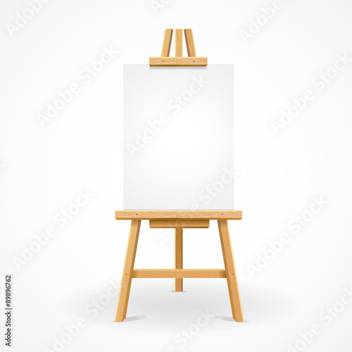 Wooden easel empty. Vector Canvas Print