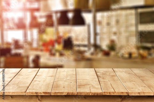 Deurstickers Restaurant wooden desk space