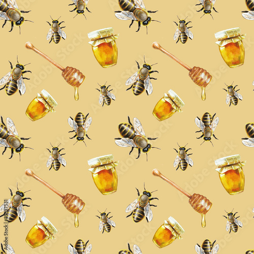 Cotton fabric Watercolor bee pattern