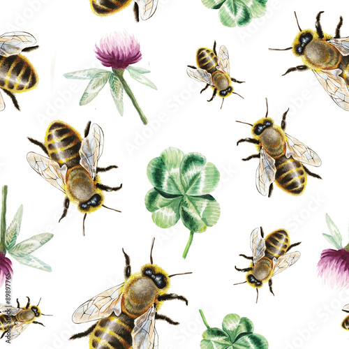 Cotton fabric Watercolor bee and clover pattern