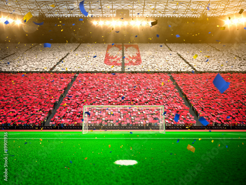Fototapeta Flag poland of fans! Evening stadium arena soccer field championship win! Confetti and tinsel   obraz