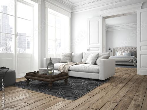Obraz wohnzimmer und schlafzimmer in einer altbau wohnung - fototapety do salonu