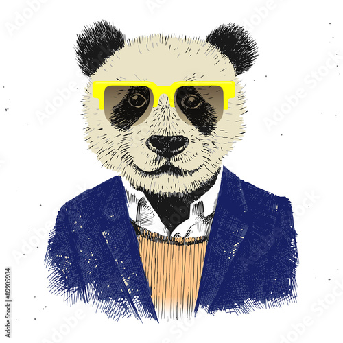 Hand drawn dressed up hipster panda