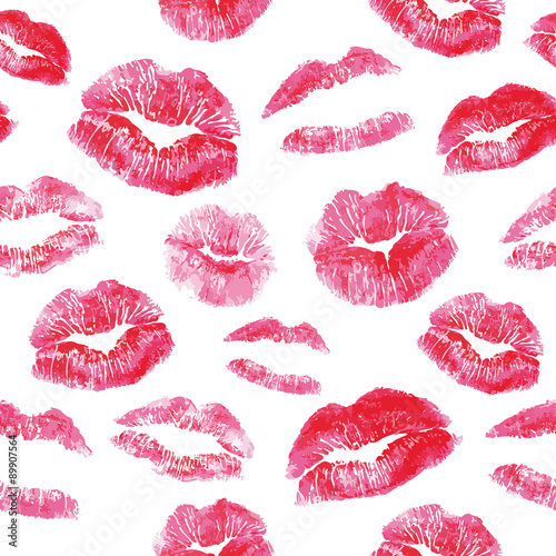Fotografie, Obraz  Seamless pattern - red lips kisses prints background