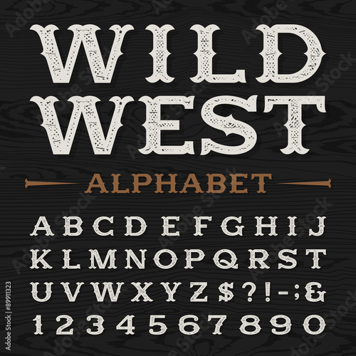 Photo  Western style retro distressed alphabet vector font