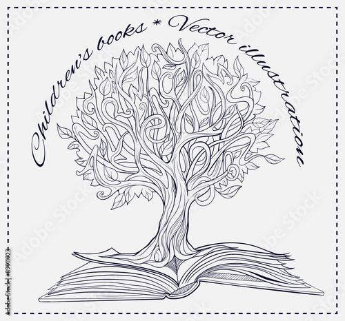 a224349e61778 knowledge tree growing out of a book - Buy this stock vector and ...
