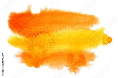 Plakat Żółto - pomarańczowe pociągnięcia pędzlem akwarela