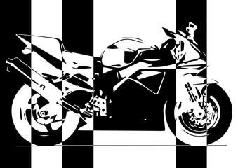 Fototapeta Motor Moto pop art en noir et blanc
