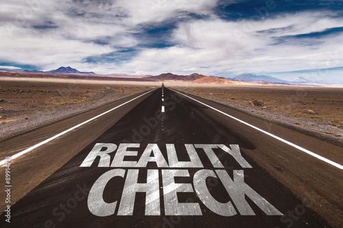 Reality Check written on desert road Canvas Print