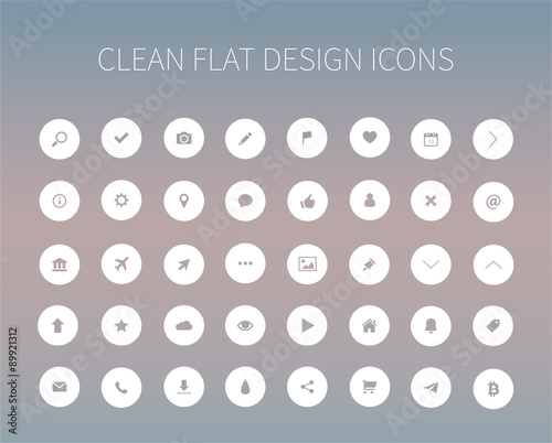 Flat icons pack for webdesign Wall mural