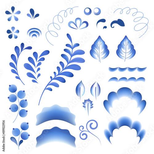 Fényképezés  Blue flowers floral russian porcelain beautiful folk ornament