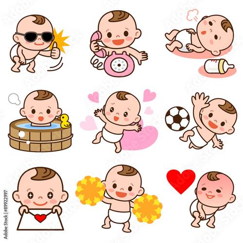 Printed kitchen splashbacks Illustrations 赤ちゃんのポーズセット