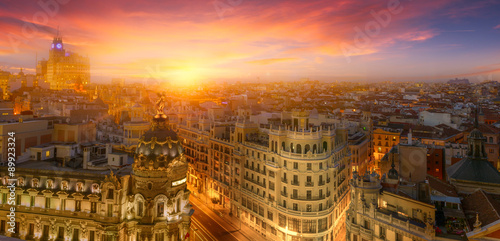 Poster Madrid Madrid, sunset