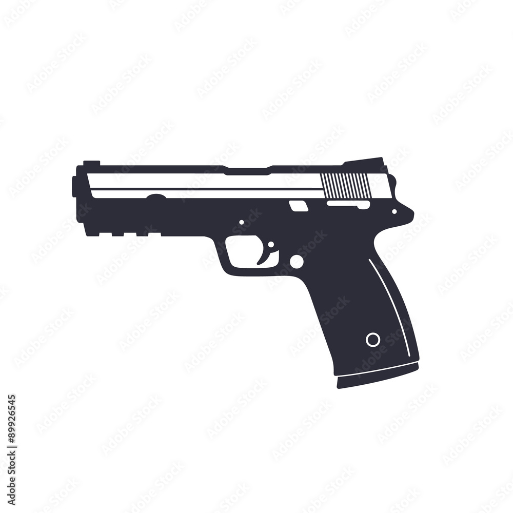 Fototapeta gun, pistol, handgun, vector illustration, eps10, easy to edit