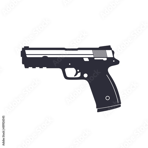 Canvas Print gun, pistol, handgun, vector illustration, eps10, easy to edit
